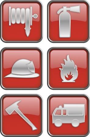 camion de bomberos: Iconos de fuego, signos de la estaci�n de bomberos y firefighte Vectores