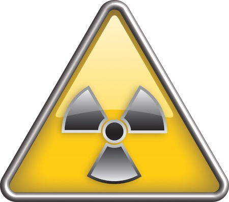 Radiation icon, hazard radiation icon in yellow triangle