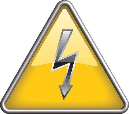 electricidad: Icono de alto voltaje, s�mbolo Vectores