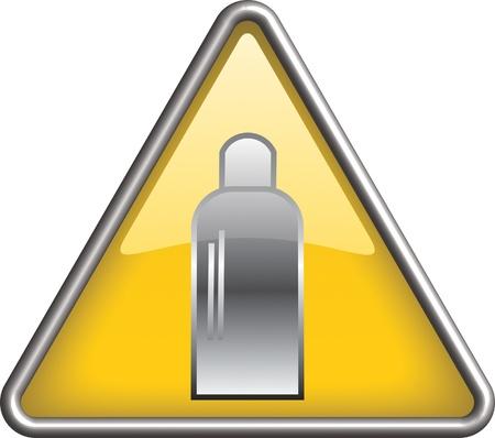 gas bottle: Gas bottle hazard icon symbol, icon