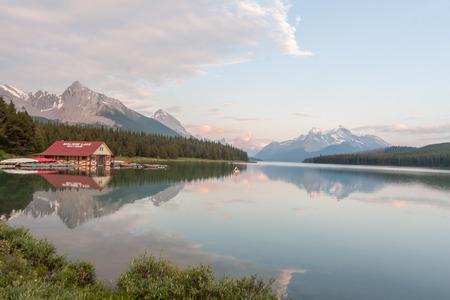 Maligne lake in Jasper national park, Alberta, Canada Editorial