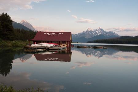icefield: Maligne lake in Jasper national park, Alberta, Canada Editorial