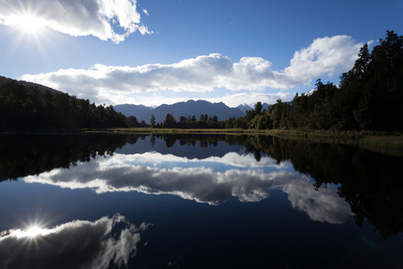 Lake Matheson, Mirror lake with reflexions in the water