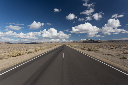 Lonely Road through the dessert to the horizon