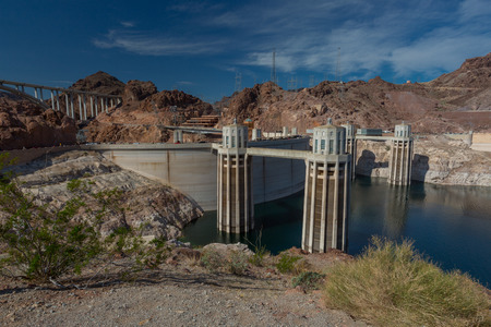 hoover dam: Hoover Dam from Lake side Stock Photo