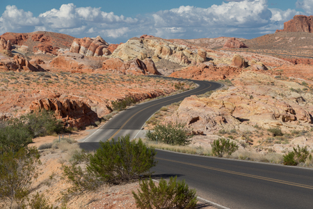 Valley of fire, road crossing 版權商用圖片 - 53620262