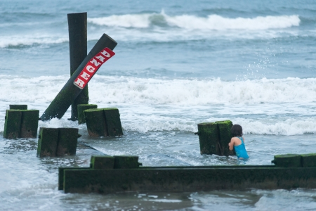 Little Girl in Danger, Storm in Atlantic City Stock Photo - 18104402