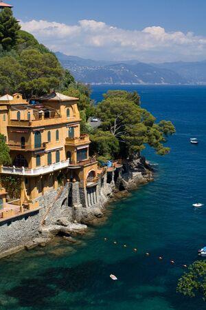 House on a rock, bay - Portofino, Italy Zdjęcie Seryjne