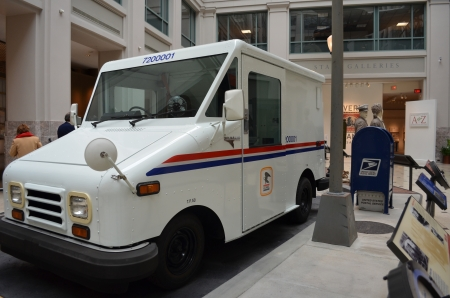 Smithsonian US Postal USPS Museum Modern Mail Truck on display
