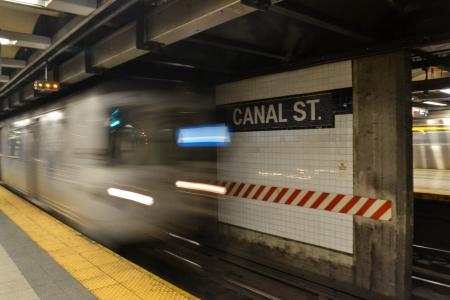Inside the New York City s Canal Street Subway Station with Train speeding by