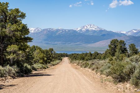 The Eastern Sierra mountain range as seen from Masonic Road, a dirt road in Bridgeport, California leading to the Chemung Mine
