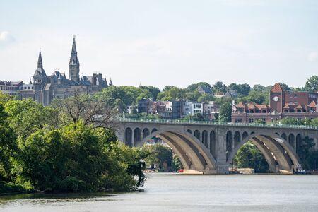 Skyline view of Georgetown Washington DC, with the Potomac River and Key Bridge