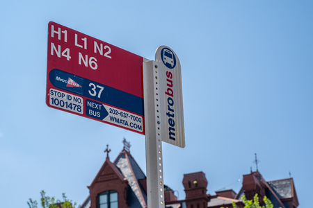 Washington, DC - August 8, 2019: Sign for a WMATA Metro Bus at a District of Columbia bus stop