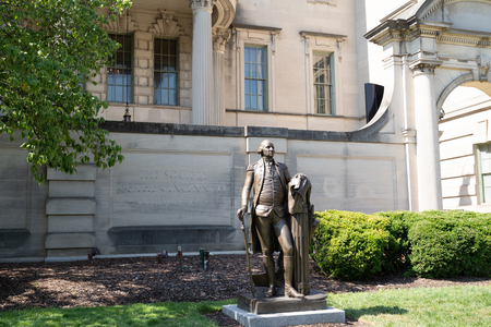 Washington, DC - August 8, 2019: Exterior and statue at the Society of the Cincinnati in Embassy Row. This is a hereditary society with branches in USA and France