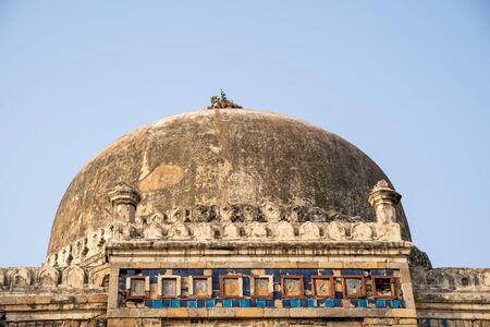 Detailed view of the dome at Shish Gumbad, also spelled as Shisha Gumbad, a tomb from the last lineage of the Lodhi Dynasty in Lodi Gardens