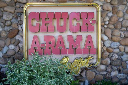 Boise, Idaho - July 14, 2019: Sign for the Chuck-A-Rama buffet, a local family buffet style restaurant Banco de Imagens
