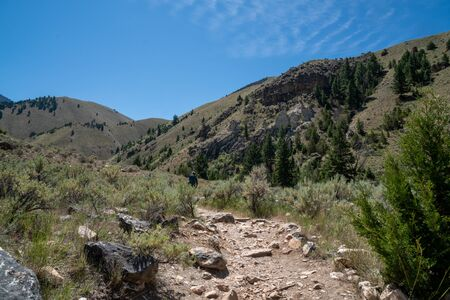 Hiker makes her way up to Goldbug Hot Springs in Idaho, in the Salmon Challis National Forest 版權商用圖片