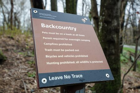 Shenandoah, Virginia - April 1, 2018: Sign from the National Park Service inside Shenandoah National Park explains the rules of the backcountry 写真素材