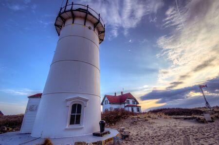 Race Point Lighthouse on Cape Cod National Seashore 免版税图像