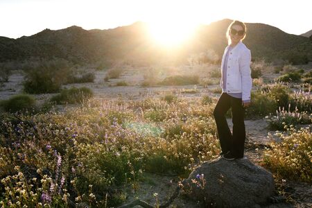 Woman standing on a rock in a wildflower field at dusk in Joshua Tree National Park California. Sunflare in photo