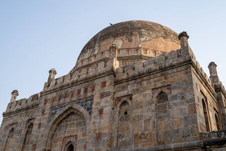 Detailed view of the dome of Bara Gumbad Mosque in Lodi Garden - New Delhi India