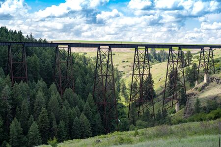 Lawyers Canyon Railroad trestle bridge located off of US Highway 95