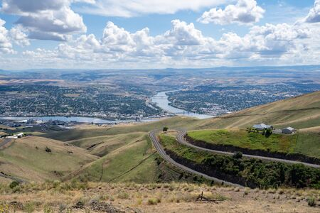 Cityscape view of Lewiston Idaho, as seen from Lewiston Hill Overlook on a summer day