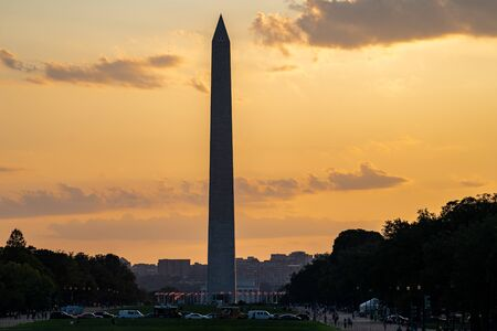 Colorful sunset view of the Washington Monument along the National Mall in District of Columbia USA