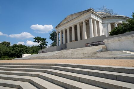 Washington, DC - August 6, 2019: Thomas Jefferson Memorial, as seen from the steps. The roof is being replaced and the dome is being cleaned by National Park Service