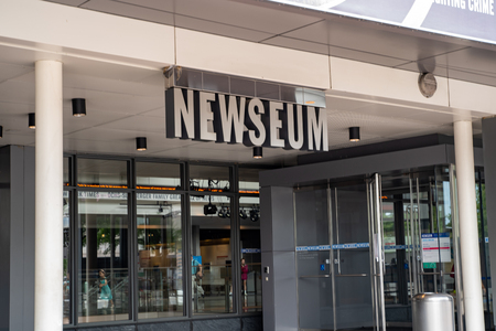Washington, DC - August 5, 2019: Exterior of the Newseum, a journalism museum in the District of Columbia, USA