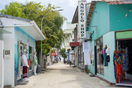 Maafushi Island, Maldives - November 26, 2019: Souviner shops and gift stores for tourists line the streets of Maafushi in the Maldives Editöryel