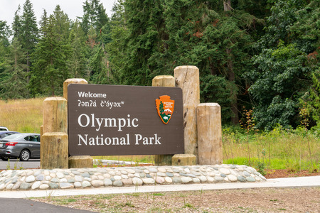 Olympic Peninsula, WA - July 7, 2019: Welcome sign for Olympic National Park in Washington State USA