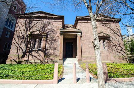New Haven, Connecticut - 1er avril 2018 : Extérieur de la société étudiante secrète Skull and Bones sur le campus de l'Université de Yale