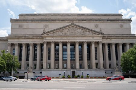 Washington, DC - August 5, 2019: Exterior of the Archives of the United States of America, where important documents are stored