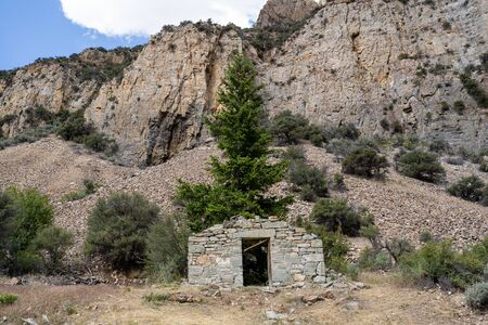 Ruins of the old ghost town of Bayhorse Idaho, in the Salmon-Challis National Forest