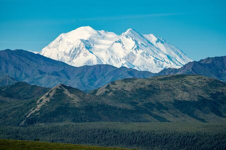Denali National Park with the mountain (previously named Mt McKinley) in full view, with blue skies and forest wilderness in foreground