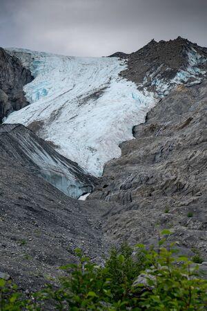 Remote wilderness surrounds Worthington Glacier near Valdez Alaska along the Richardson Highway Stock Photo