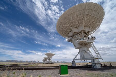 Wide angle view of the Very Large Array satellite communication center in New Mexico in the summer