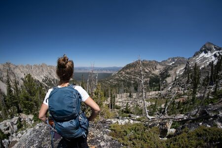 Woman hiker in the Sawtooth Mountains of Idaho
