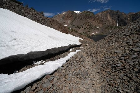 Snow cave along the 20 lakes basin hike in California