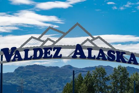 Sign for Valdez Alaska Stock Photo - 139023153