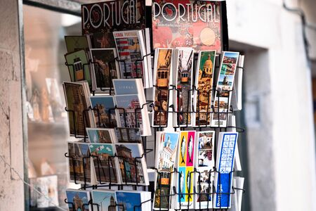 Lisbon, Portugal - January 17, 2020: Postcards and bookmarks of Lisbons famous tourist attractions for sale in a gift shop