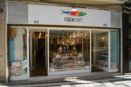 Lisbon, Portugal - January 17, 2020: Exterior of the Lisbon Craft store, a handicraft gift and souviner shop downtown Stock Photo - 139041977