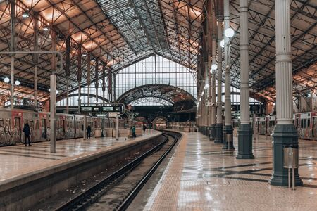 Lisbon, Portugal - January 18, 2020:  Inside of the Rossio train station, early in the morning