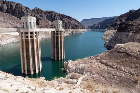 North view of the Hoover Dam in Nevada. View of the Colorado River