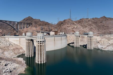 Beautiful sunny view of the Hoover Dam near Las Vegas Nevada, and the Colorado River
