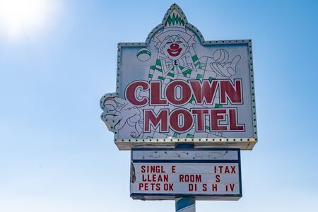Clown Motel sign in Tonopah Nevada, is a kitschy roadside attraction Editorial