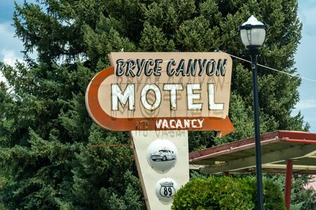 Vintage retro sign for the Bryce Canyon Motel. Lodging has vacancy