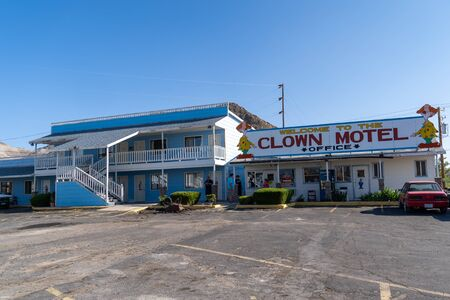 Clown Motel sign in Tonopah Nevada, is a kitschy roadside attraction and is said to be haunted Editorial