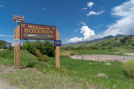 MAY 30 2017 - BOZEMAN, MT: Sign welcomes visitors to the town of Bozeman Montana on a sunny spring day